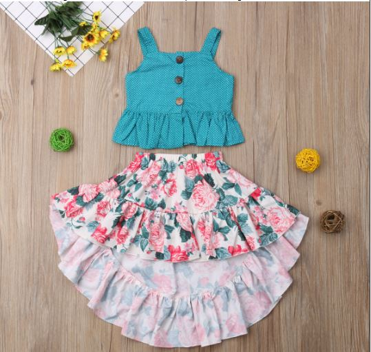Child Children Girls Summer Clothes Clothes Dress Tops + Skirt Clothes Set Fashion Clothes