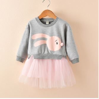 Child Girl Children Kids Clothes Fake 1-2 Long Sleeve Dress Sewing Knit Sweater Skirt Girl Set