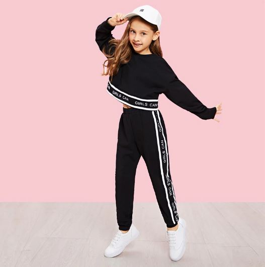 Girls Lettering Trim Casual Pullover And Pants Set Children's Clothing 2019 Spring Wear Active Long Sleeve Girls' Clothing