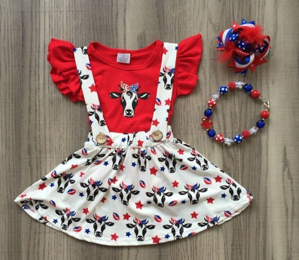 New arrivals July 4th girls outfits red cow navy white sleeves baby skirt children