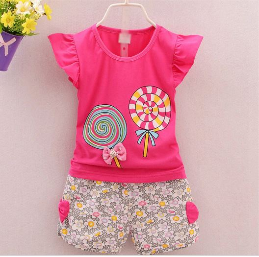 New Summer Sets Children Baby Girls Cartoon Shape Printed Suit For 6 Months For 3 Years Of Age Children Wear Clothes