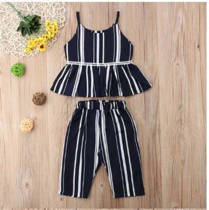 Baby Girls Clothing Striped Outfits Top + Suspender Pants Clothing Set Summer Wear