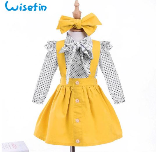 aby girl school clothes children wear summer girls clothing set 3 PC polka dot bow tie yellow blouse clothes head