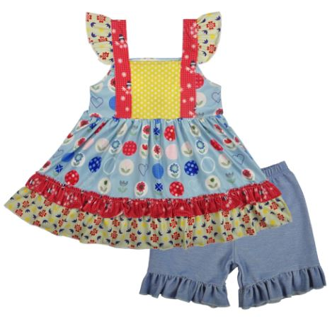 Children's Clothing Baby Boutique Wear Sleeveless Girls Summer Clothes Children's Clothing Sets