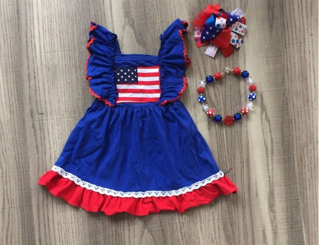 New arrivals July 4th royal red star sleeveless dress baby dress children wear girls clothes boutique accessories knee-high