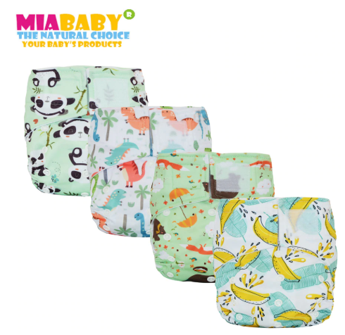 Miababy Hook&Loop OS Pocket Cloth Diaper,with two pockets,waterproof and breathable,for 5-15 kg baby