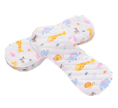 Print Cartoon 10Pcs Cotton Inserts For Baby Cloth Diaper Nappies Reusable Cloth