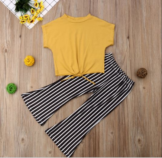 Fashion Children Toddler Baby Girl Short Sleeve Striped T-Shirt Flared Tops Pant Yellow Bell 2 PARTS Summer Clothes Set