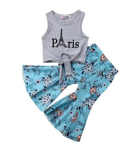 New Baby Toddler Fashion Summer Clothes Girl Eiffel Tower Vest Floral Head Mouth Enlargement Pant 2 PCS Set Clothing