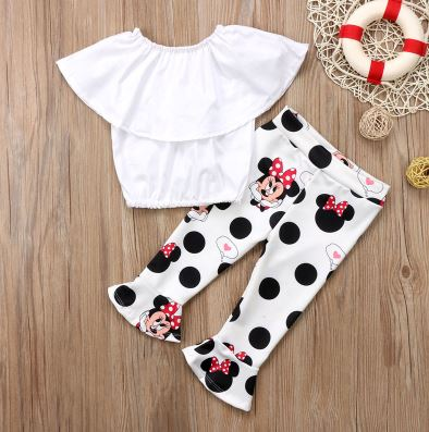 Child Children Girls Off The Shoulder Headset Cute Mini Mouse Bell Mouth Pants Fire Outfit 2 Pcs Set