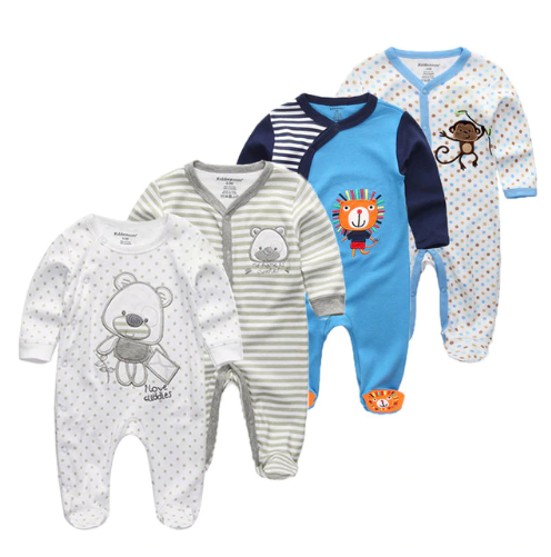4 PCS/lot Soft Flannel Baby Sleepwear Kawaii Kids Boy Girls Pajamas