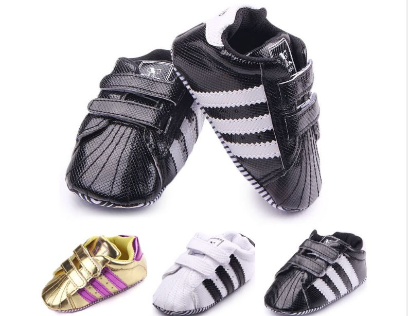 Baby Toddler Shoes Newborn Baby Boys Girls First Walkers Stripe PVC Soft Bottom Shoes Non-slip Footwear