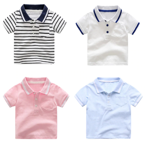 AILEEKISS Boys Children Summer Polo-Shirt Cotton Baby Boys Clothes