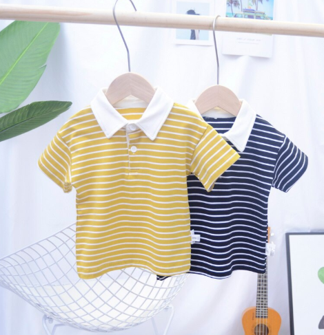 Children Clothes Stripe Kids Summer T-shirt Boys Girls Short Sleeve Polo T-shirt