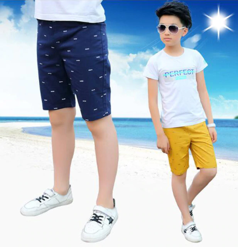 Boys casual pants boys cotton knee length shorts kids beach shorts
