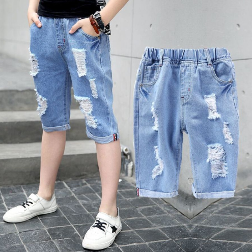 Ripped Jean Shorts for Teen Boy Solid Knee Length Kids Boys Denim Pants