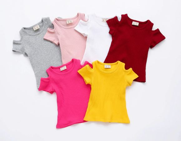 Baby Girls Candy Color Off-shoulder Short Sleeved Kids T-shirt Cotton Clothes Tops