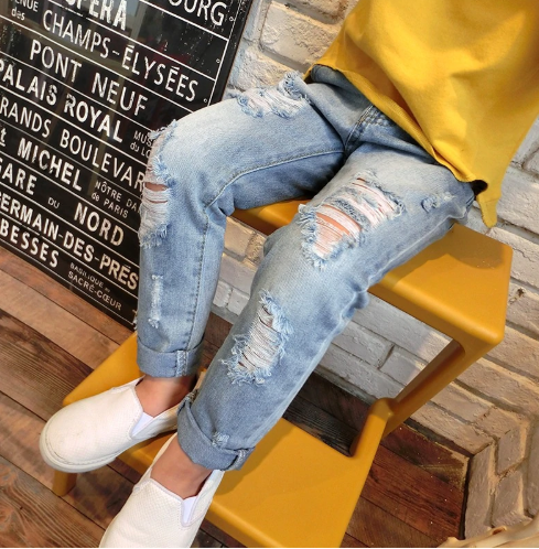 Broken hole kids jeans for girls Boys Spring Summer jeans