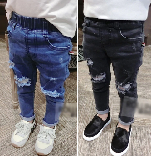 Spring Kids Jeans Boys Girls Fashion Holes Jeans Children Jeans
