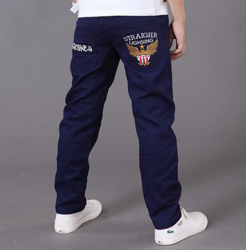 casual Spring Solid Cotton Mid Elastic Waist Pants for Boy