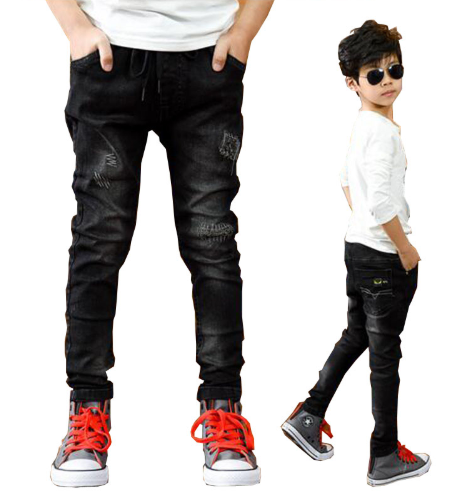 Boys pants spring autumn black jeans kids casual trousers boys jeans