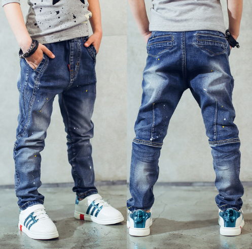 Boy's jeans, Children's clothing boys jeans spring and autumn splash-ink children pants