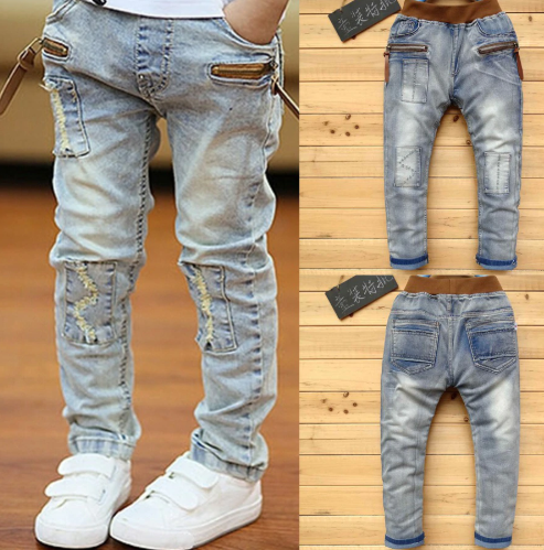 IENENS 5-13Y Boys Slim Straight Jeans Summer Classic Light Color Bottoms Children Denim Long Pants
