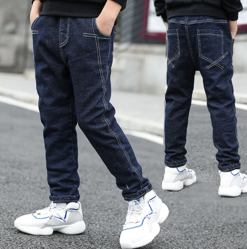 IENENS 5-13Y Young Boy's Slim Jeans Solid Color Trousers Boys Denim Long Pants