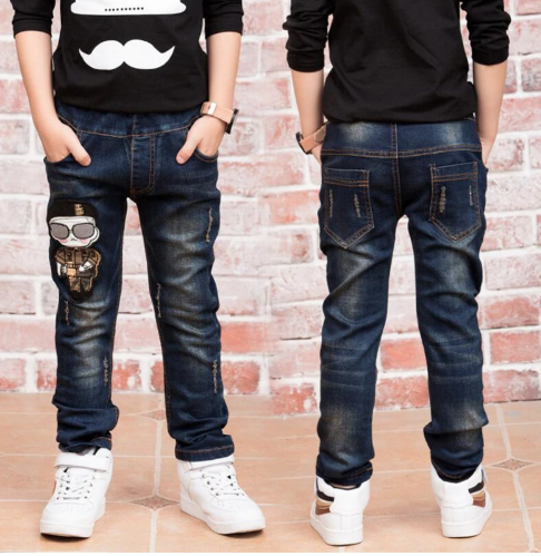 Children denim pants big boys slim jeans Boys Jeans