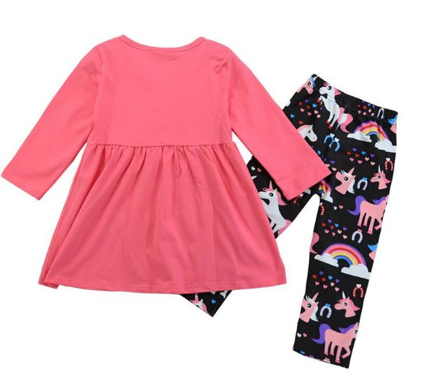 Clothes Set Rainbow Dress Tops+Unicorn Pants Kids Girls Pink Soft Cotton O-Neck Long Sleeves T-shirt