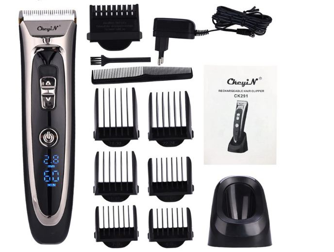 Digital Hair Trimmer Rechargeable Electric Hair Clipper Men's Cordless Haircut Adjustable Ceramic Blade
