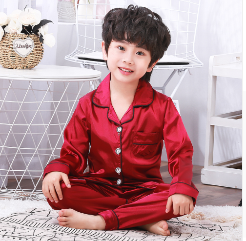 Silk Pajamas Suit for Children Long Sleeve Pants Set Kids
