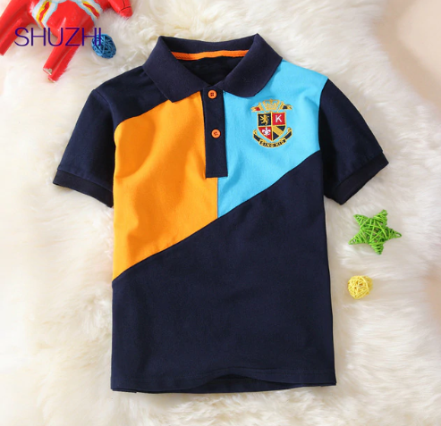 SHUZHI Boys polo shirts Patchwork Kids Tops boys shirt