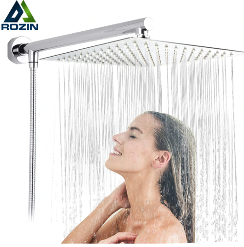 "Bright Chrome 8"" Ultrathin Shower Head + Brass 15"" Shower Arm + 59"" Stainless Steel"