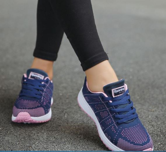 Women's Sneakers Fashion Sports Shoes Lace-Up Beginner Knit Round Cross Strips Flat Shoes Running Shoes