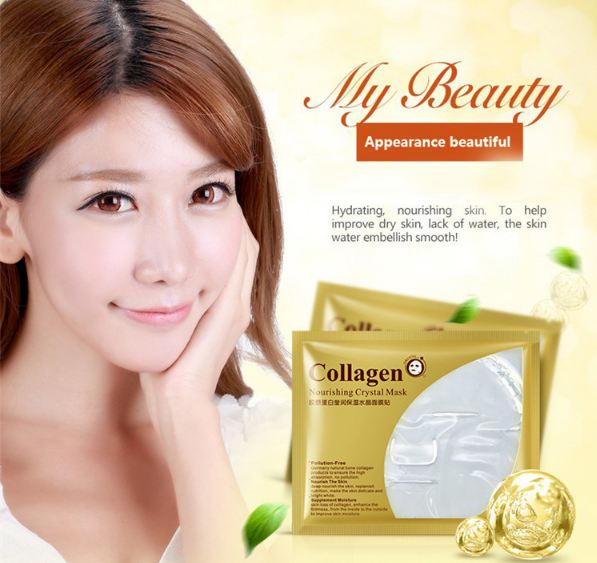 24K Gold Collagen Face Mask Crystal Gold Collagen Facial Masks Moisturizing whitening Anti-aging Skin Care
