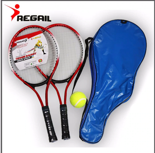 Set of 2 Teenager's Tennis Racket For Training Carbon Fiber Top Steel Material