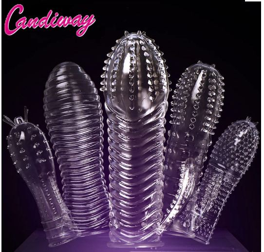Extensions condom Penis Sleeve Male Enlargement Men Delay Spray clit massager Cock Ring vibrating cover