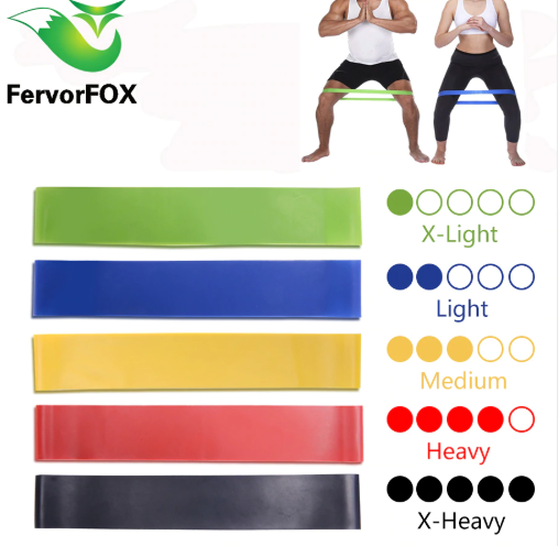 5 Colors Yoga Resistance Rubber Bands Indoor Outdoor Fitness Equipment
