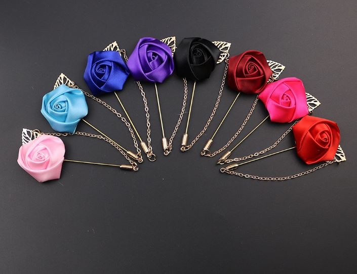 Men's Suit Rose Flower Pin Brooches 19 Colors Canvas Cloth Ribbon Bow Tie Brooch for Women and Men's Clothing Dress Accessories