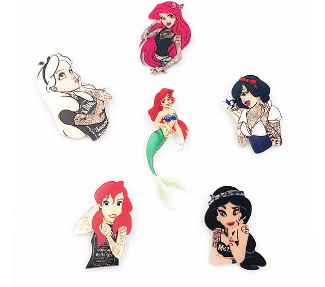 Cool Girls Tattoo Mermaid Princess Clothes Badge Acrylic Brooch Women Backpack Icon Pins Brooches Pins Accessories