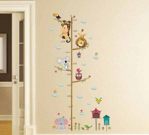 Cartoon Animals Lion Monkey Owl Elephant Height Measure Wall Sticker For Kids Rooms Growth Chart
