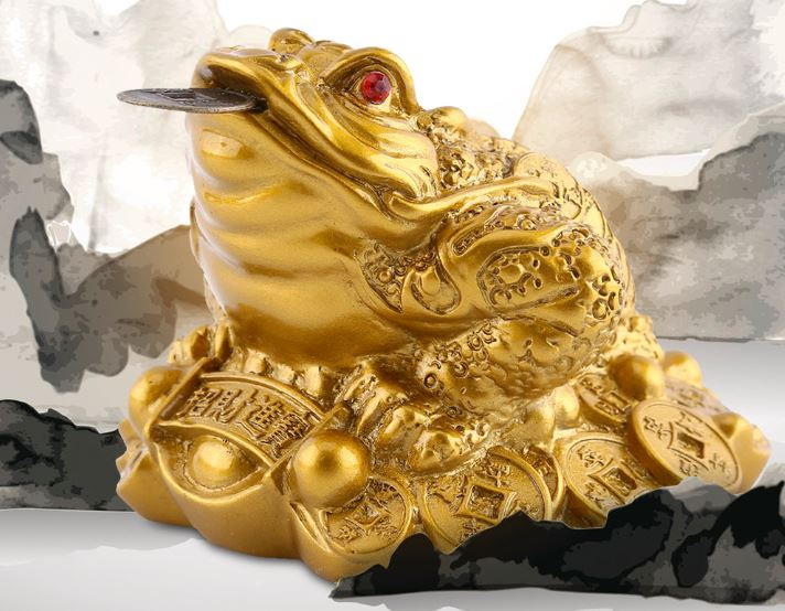 Money LUCK Fortune Feng Shui Chinese Wealth Golden Frog Toad Coin Home Office Decoration Table Ornaments Lucky Gifts