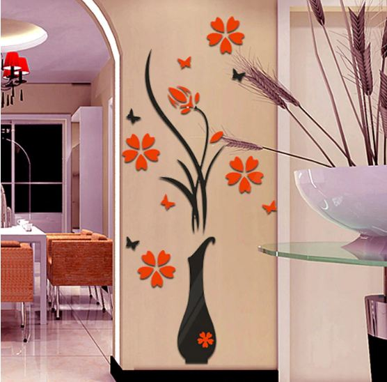 Vase Flower Tree butterfly 3D DIY Wall Stickers Decal Home Decor Wallpapers Living rooms