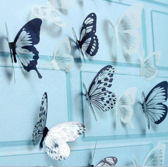8Pcs 3D Black And White Butterfly Sticker Art Wall Decal Home Decoration Room Decor