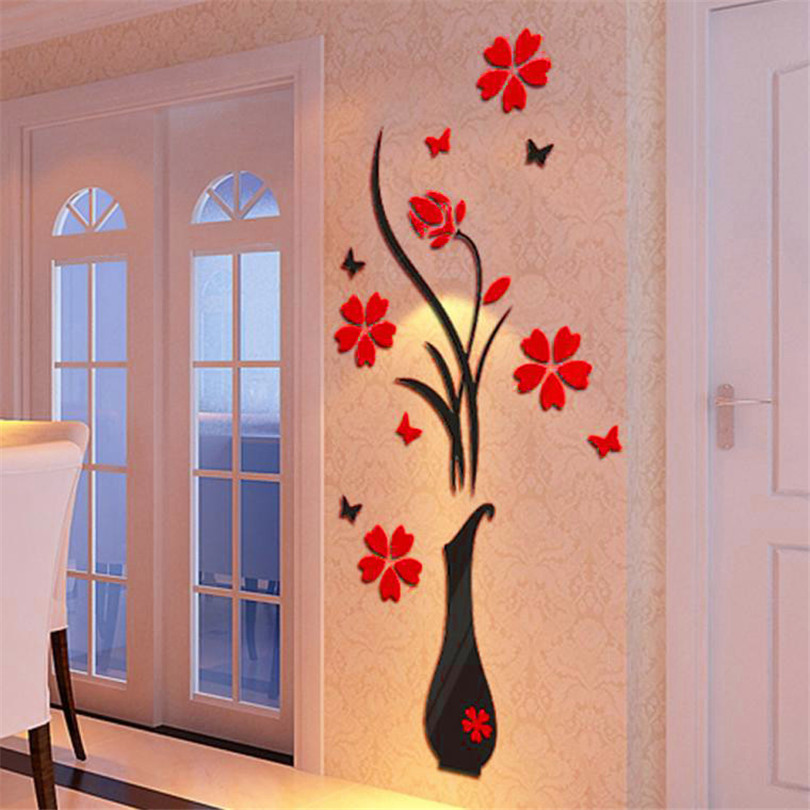 Flower Vase Wall DIY Crystal Tree Arcylic 3D Black Wall Decal Art Decal Home Decor Art Personality Creative Wall Stickers