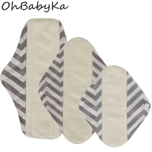 OhBabyKa Washable Sanitary Pads Bamboo Cloth Pads Reusable Serviette Hygienique Cartoon Print Women Menstrual Pads