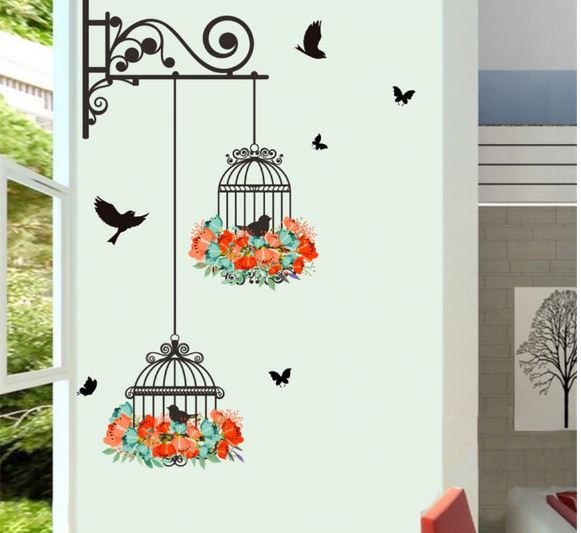 Home Decoration Children's Decoration Vintage Birdcage Decorative Painting Bedroom Living Room TV Wall Decoration Wall Stickers
