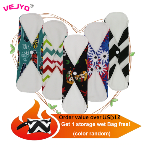 VEJYO S M L Bamboo Cotton Mama Reusable Menstrual Cloth Sanitary Pads