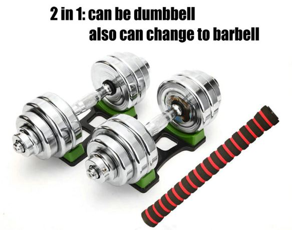 10 KG Home Men dual plating pure steel dumbbell, arc design dumbbell rod, household dumbbell barbell